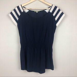 Gianni Bini Womens Blouse Navy Stripe Small